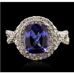 14KT White Gold 3.26ct Tanzanite and Diamond Ring A7020