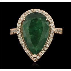 14KT rose gold 4.67ct Emerald and Diamond Ring A6135