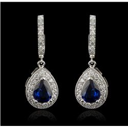 14KT White Gold 3.05ctw Blue Sapphire and Diamond Earrings AJF11