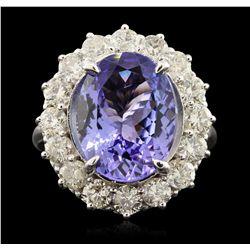 14KT White Gold 6.93ct Tanzanite and Diamond Ring A6612