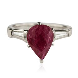 Platinum 2.19ct Ruby and Diamond Ring GB4443