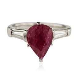 Platinum 2.19ct Ruby and Diamond Ring GB4443