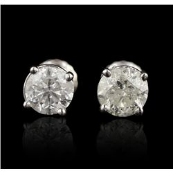 14KT White Gold 1.44ctw Diamond Solitaire Earrings A5575