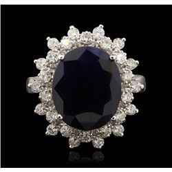 14KT White Gold 6.58ct Sapphire and Diamond Ring A7110