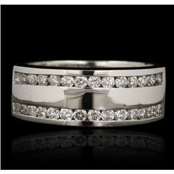 14KT White Gold 1.00ctw Diamond Wedding Band LAJB96