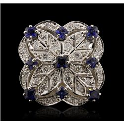 14KT White Gold 2.99ctw Sapphire and Diamond Ring A7166