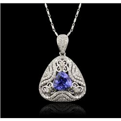 14KT White Gold 4.76ct Tanzanite and Diamond Pendant With Chain RM1865