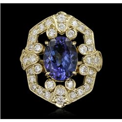 14KT Yellow Gold 4.23ct Tanzanite and Diamond Ring A5476
