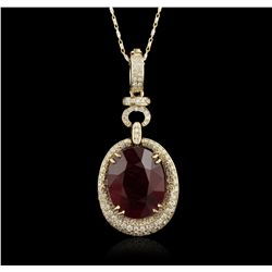 14KT Yellow Gold 13.08ct Ruby and Dimaond Pendant with Chain RM1760