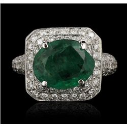 14KT White Gold 3.39ct Emerald and Diamond Ring GB3554