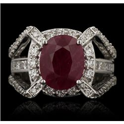 14KT White Gold 4.84ct Ruby and Diamond Ring GB3511