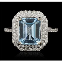 14KT White Gold 4.24ct Topaz and Diamond Ring A6551
