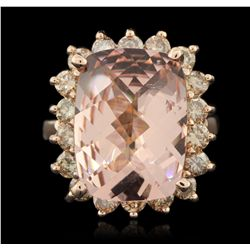 14KT Rose Gold 8.33ct Morganite and Diamond Ring A6176