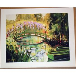 Michelle Byrne, Monets Japanese Bridge, Signed Print