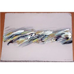 Joyce Rezendes, Silver Waves, Signed Acrylic Painting