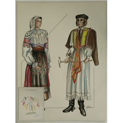 1984 LA Olympic Ural-Caucasus Ceremonial  Costume Drawing & Official Program