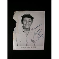 """'Andy Griffith Show ' George """"Goober"""" Lindsey Signed Headshot"""