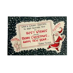 Sophie Tucker Handmade Christmas Card (1956)