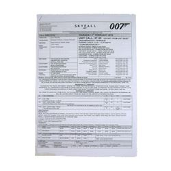 Skyfall Production Used Call Sheet