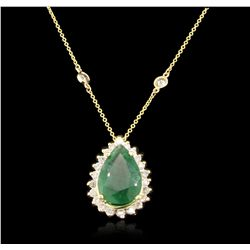 14KT & 18KT Yellow Gold 4.46ct Emerald and Diamond Necklace A6776