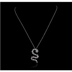 18KT White Gold 1.28ctw Black Diamond Pendant with Chain GB2415