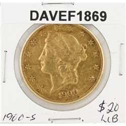 1900-S $20 XF Liberty Head Double Eagle Gold Coin DAVEF1869