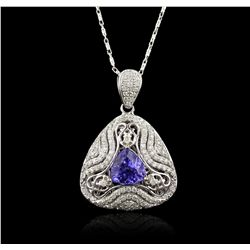 14KT White Gold 2.77ct Tanzanite and Diamond Necklace RM1872