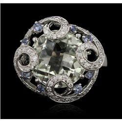18KT White Gold 9.75ct Mint Quartz, Sapphire and Diamond Ring GB4127