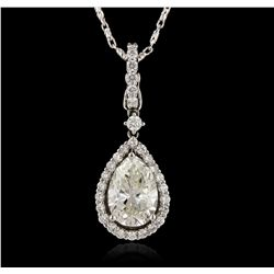 18KT White Gold 2.98ct EGL USA Certified SI-1/J Diamond Pendant with Chain A5893