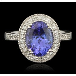 14KT White Gold 3.57ct Tanzanite and Diamond Ring PRM75