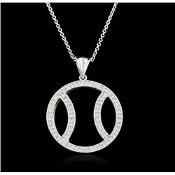14KT White Gold 1.05ctw Diamond Pendant With Chain GB1654