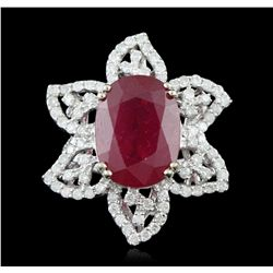 14KT White Gold 12.00ct Ruby and Diamond Ring A5707