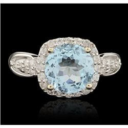 14KT White Gold 3.06ct Blue Topaz and Diamond Ring A6560