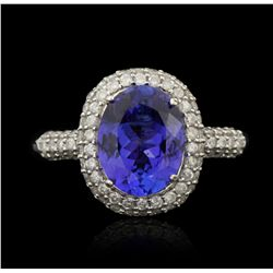 14KT White Gold 2.56ct Tanzanite and Diamond Ring A5323