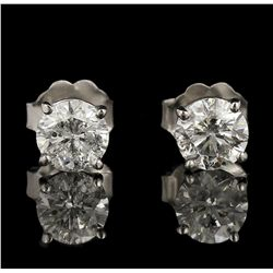 14KT White Gold 1.21ctw Diamond Solitaire Earrings GB4370