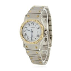 Ladies Two Tone Cartier Octagonal Santos Automatic Wristwatch GB4098