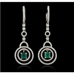 18KT White Gold 1.34ct Emerald and Diamond  Earrings FJM3237
