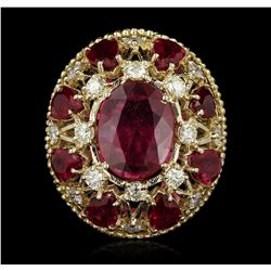 14KT Yellow Gold 11.53ctw Ruby and Diamond Ring A5479