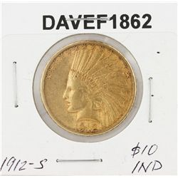 1912-S $10 XF Indian Head Eagle Gold Coin DAVEF1862