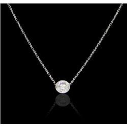 14KT White Gold 1.01ct Diamond Pendant With Chain GB4842