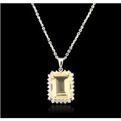 14KT White Gold 6.77ct Citrine and Diamond Pendant With Chain A6592