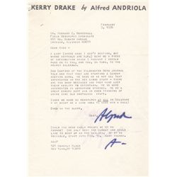 Kerry Drake Cartoonist Alfred Andriola Typed Letter Signed