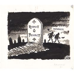 "Original Douglas Borgstedt Drawing Depicting the Death of ""Respect & Privacy"""
