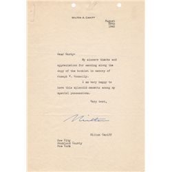 Terry and the Pirates Cartoonist Milton Caniff Typed Letter Signed