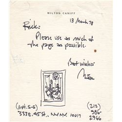 Terry and the Pirates Cartoonist Milton Caniff Autographed Note Signed with Sketch