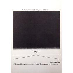 Original Paul Conrad Charles Lindbergh Tribute Drawing
