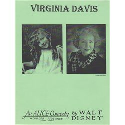 Virginia Davis Signed Limited Edition Re-release  Alice in Wonderland  Program