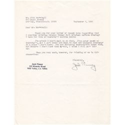 Sci-Fi Writer Jack Finney Typed Letter Signed