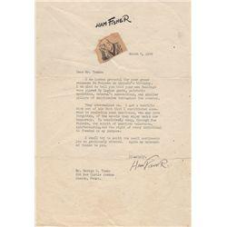 Joe Palooka Cartoonist Ham Fisher Typed Letter Signed