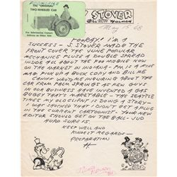 Smokey Stover Cartoonist Bill Holman Autograph Letter Signed to Burne Hogarth